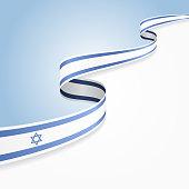 Israeli flag wavy abstract background. Vector illustration.