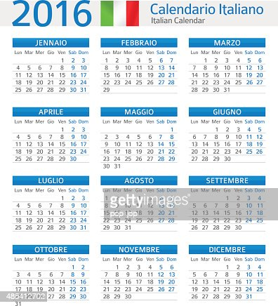 Italian Calendar 2016 Calendario Italiano 2016 Vector Art | Getty ...