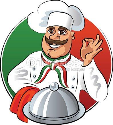 Italian cook montrant ok signe avec assiette plateau - Clipart cuisine gratuit ...