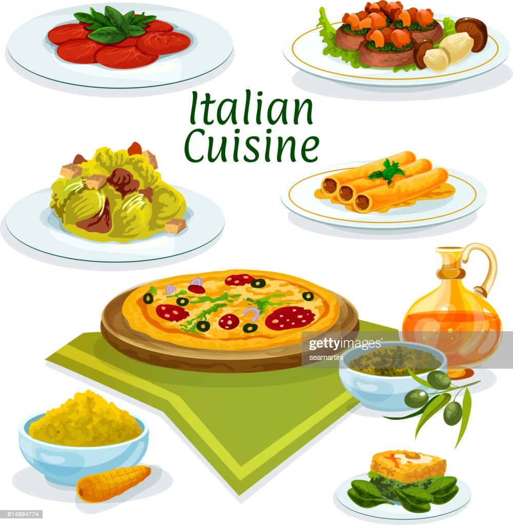 Italian cuisine dishes icon for menu design