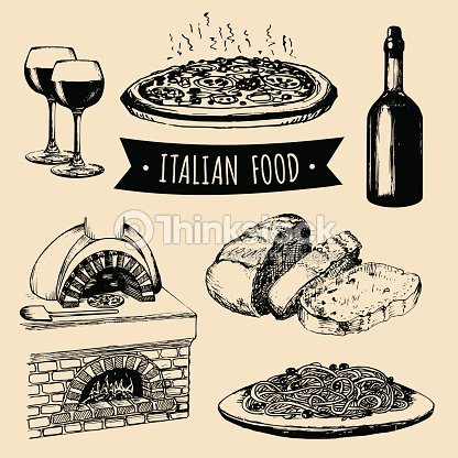 Italian cuisine menu. Hand sketched traditional southern europe food signs. Vector set of mediterranean meal elements.