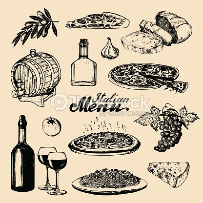 Italian cuisine menu.Sketched traditional southern europe food and drink signs.Vector set of mediterranean meal elements
