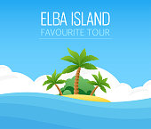 Italian Elba Island - Your Favorite Tour. Landscape Travel Vector Illustration. Exotic Island with Palm Trees.