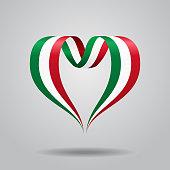 Italian flag heart-shaped wavy ribbon. Vector illustration.