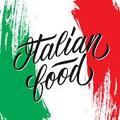 Italian food handwritten inscription. Creative typography for italian restaurant menu, cafe, food market. Vector illustration.