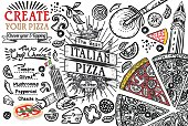 Italian food ingredients in top view this is a pizza restaurant frame. Lined template or doodle illustration. Vector design.