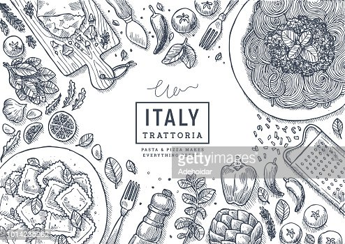 Italian food top view illustration. Spagetti and ravioli table background. Engraved style illustration. Hero image. Vector illustration : stock vector