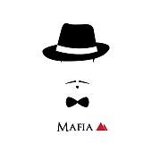 Italian Mafioso face on white background. Vector illustration.