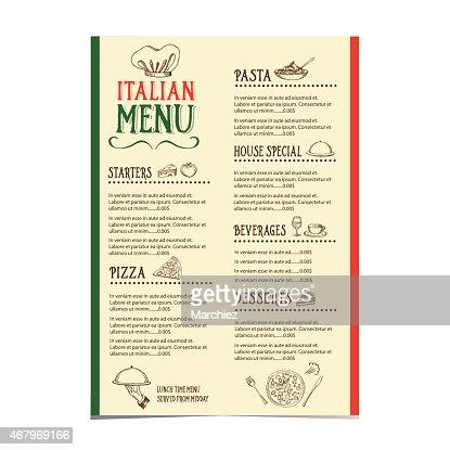 Italian Restaurant Menu With A Variety Of Choices Vector