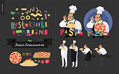 Italian restaurant set - branding, logo and menu constructor - kit of restaurant logo, cooks and waiters wearing the uniform holding a dish of pasta with red bolognese sauce and other italian food ele