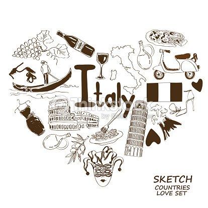Italian Symbols In Heart Shape Concept Vector Art Thinkstock