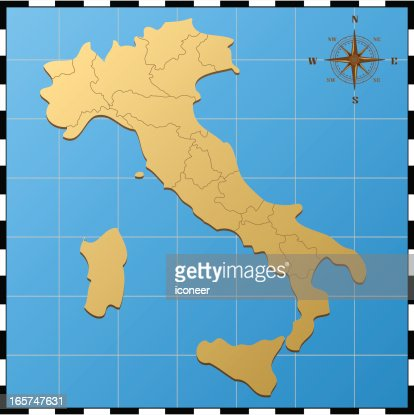 italy map with pass rose vector art ty images
