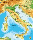 Highly detailed physical map of Italy in vector format,