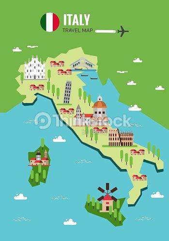Italy Travel Map Italian Colosseum Milan Venice Sicilia And ...