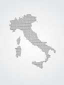 Italy vector map illustration using binary codes on white background to mean advancement of technology