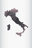 Italy watercolor map vector illustration in black color on light background using paint brush on paper