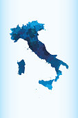 Italy watercolor map vector illustration in blue color on light background using paint brush on paper