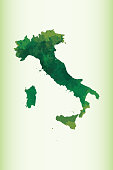 Italy watercolor map vector illustration in green color on light background using paint brush on paper