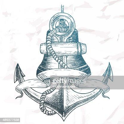 Anker bleistiftzeichnung  Artikel Auf Die Marinethema Vektorgrafik | Thinkstock