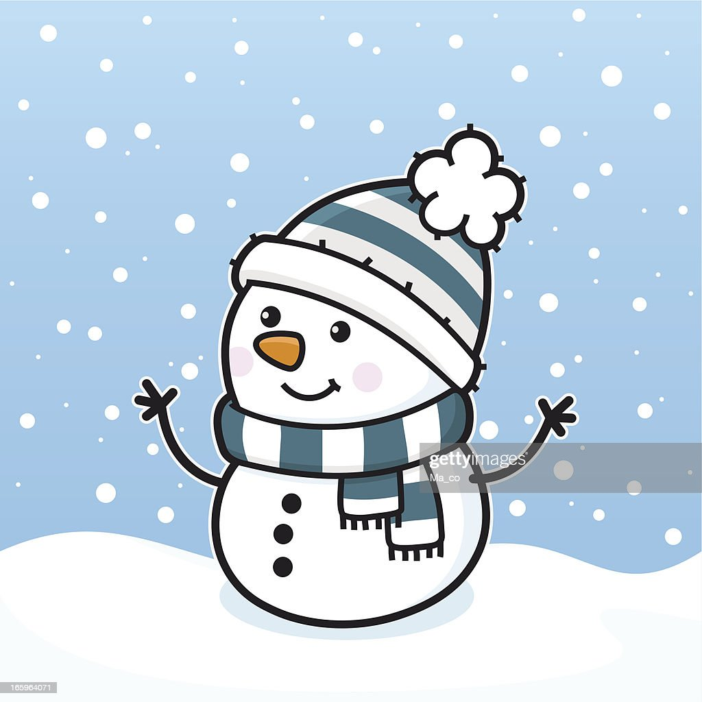 Its Snowing Happy Snowman With Scarf And Hat Vector Art ...