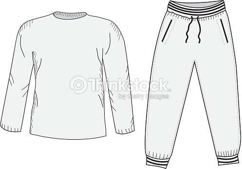 Jacket And Sweatpants Tracksuit Sketch Set stock vector