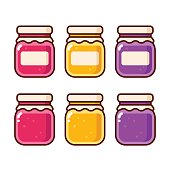 Bright cartoon jam icon set. Fruit preserves in glass jars vector illustration collection.