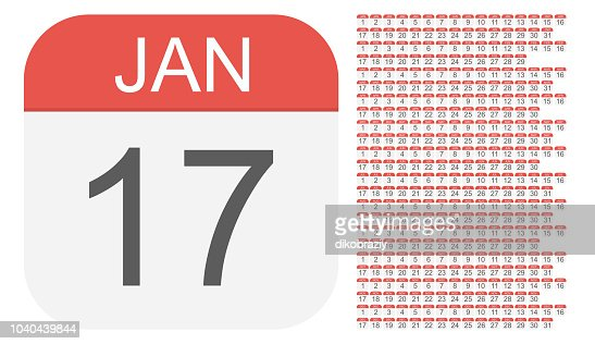 January 1 - December 31 - Calendar Icons. All days of year. : stock vector
