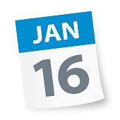 January 16 - Calendar Icon - Vector Illustration