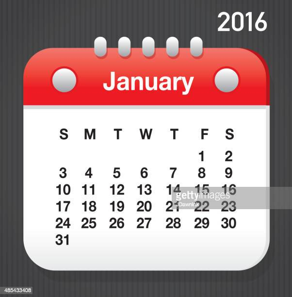 January 2016 Generic printable calendar design template layout
