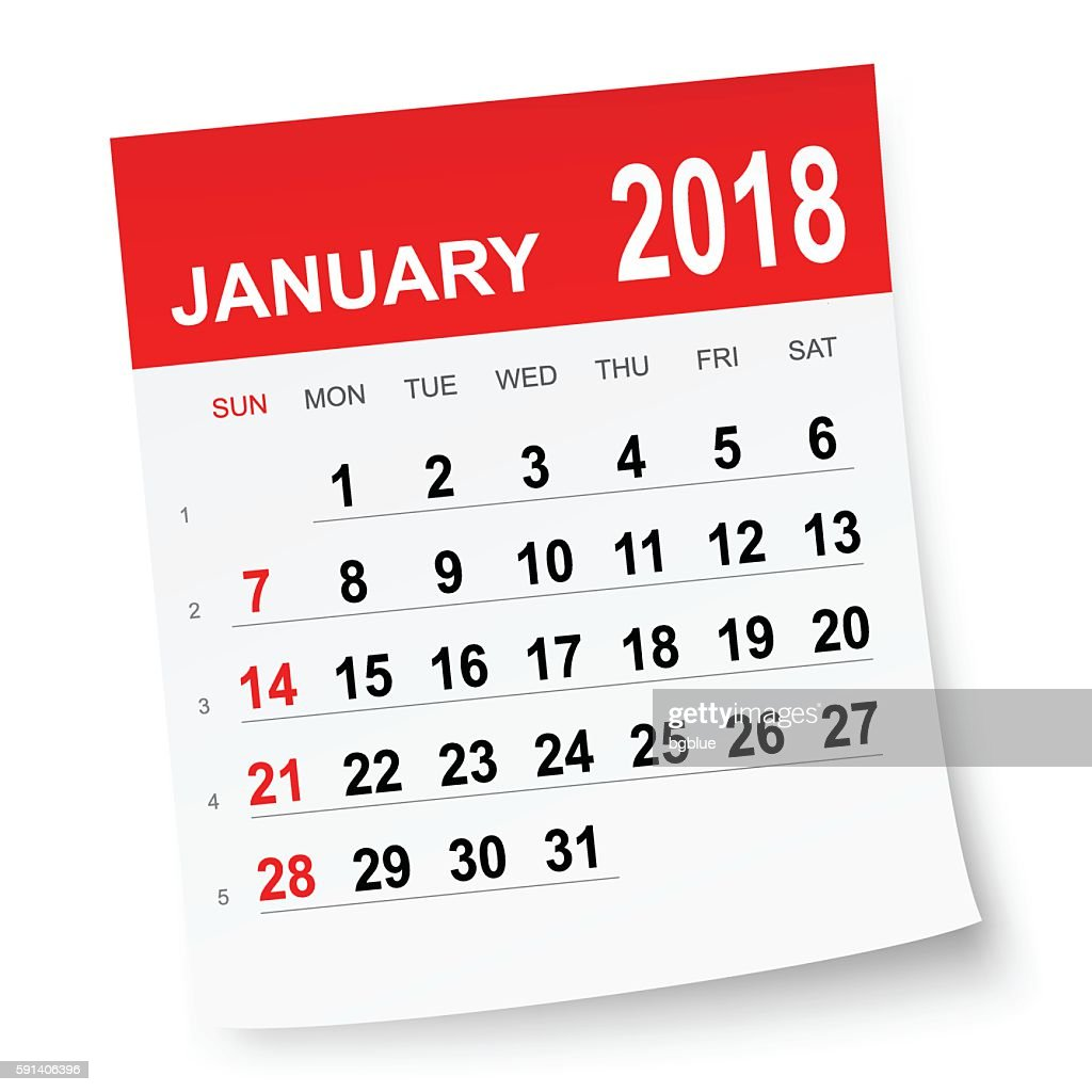 January 2018 Calendar Vector Art | Getty Images