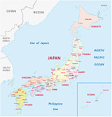 Japan administrative and political vector map