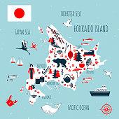 Japan cartoon travel map vector illustration, Hokkaido island, japanese symbols blossom sakura, cranes, decorative umbrella, kimono, traditional food sushi, bamboo, flag for design tourism advertising