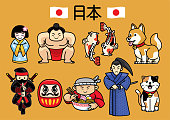 Vector of japan character culture in set