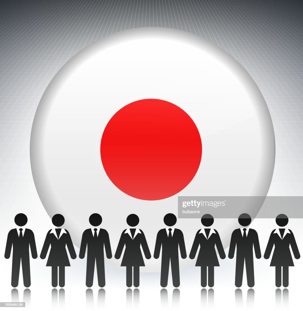 japan flag button with business concept stick figures vector art