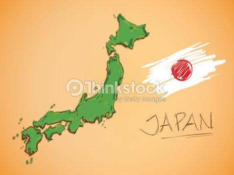 Japan Map And National Flag Vector Vector Art Thinkstock - Japan map cartoon