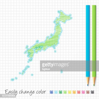 Japan Map Hand Drawn On White Background Vector Art Getty Images - Japan map sketch