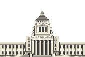 Vector illustration of Japan National Diet Building,Horizontal composition.