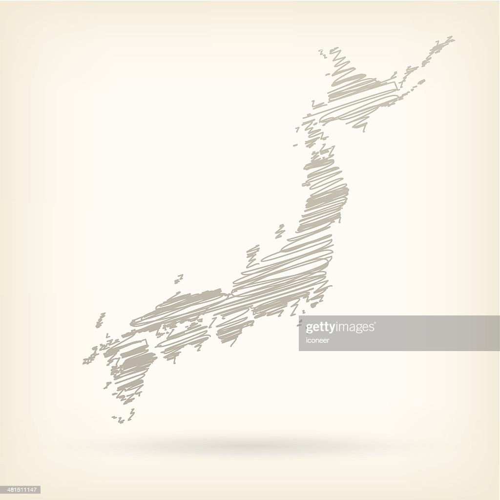 Japan Sketch Map Vector Art Getty Images - Japan map sketch