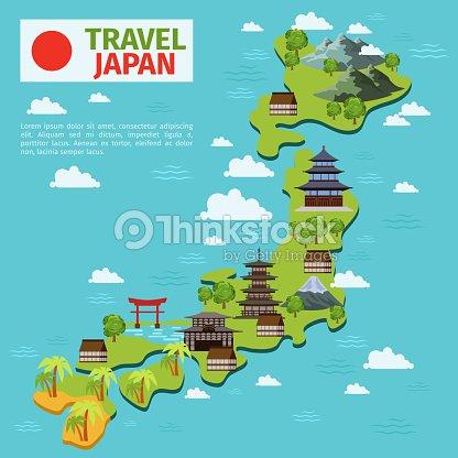 Giappone viaggio mappa vettoriale con simboli tradizionali for Disegni tradizionali giapponesi