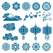Japanese and chinese asian motif vector decor pattern elements. Illustration of traditional eastern flower and ornament