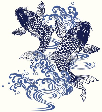 Japanese carp vector art thinkstock for Japanese koi carp paintings