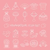 Japanese doll festival thin line icon set