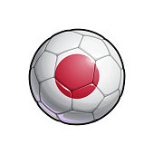 Vector Illustration of a Football – Soccer ball with the Japanese Flag Colors. All elements neatly on well defined Layers