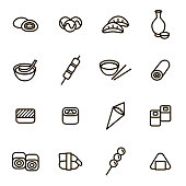 Japanese Foods Black Thin Line Icons Set for Web and App Include of Nigiri, Nori, Udon, Sashimi and Miso. Vector illustration of Food Icon
