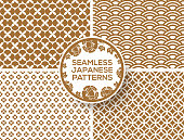 Japanese gold seamless patterns set with peony circle label. Vector illustration. Wave seigaiha ornament