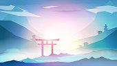 Japanese Landscape Background with Mountains and Arch Sunset with Fog  - Vector Illustration