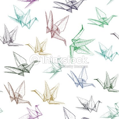 Japanese Origami Paper Cranes Symbol Of Happiness Luck And Longevity