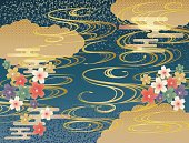 Japanese background background material using waves and plum blossoms