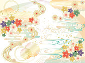 Simple and elegant Japanese pattern background with flowers and waves