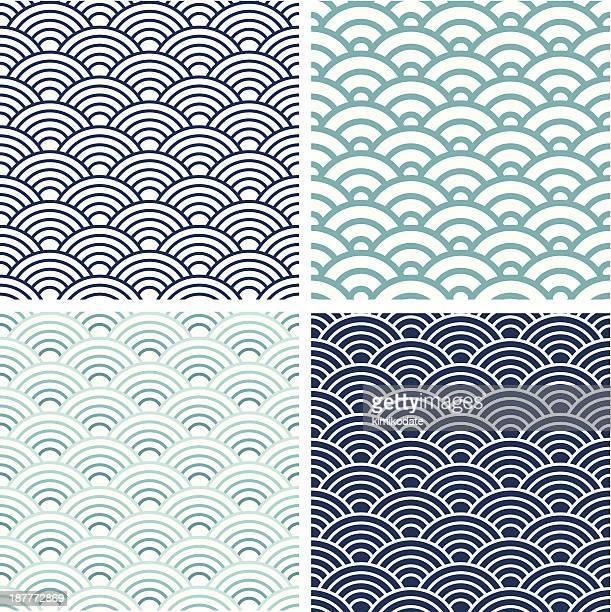 Japanese Seigaiha seamless pattern set